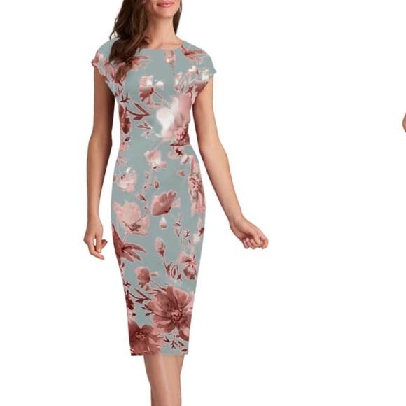 Eci Dresses Eci New York Rose Gold Foil Midi Sheath Dress 8 Poshmark